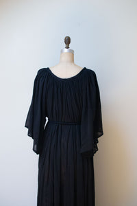 1970s Angel Sleeve Cotton Gauze Dress