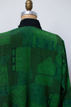 Load image into Gallery viewer, 1990s Architectural Print Green Rayon Top
