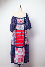 Load image into Gallery viewer, 1970s Mixed Print Puff Sleeve Dress