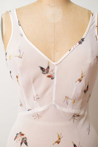 1990s Sheer Butterfly Print Bias Cut Dress | Betsey Johnson