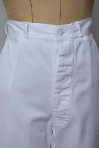 "1940s White Sailor Pants | 30"" - 31"" waist"