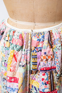 1970s Patchwork Quilted Skirt