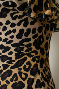 1990s Silk Leopard Print Bias Cut Dress | Cache