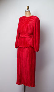 1980s Red Pleated Dress