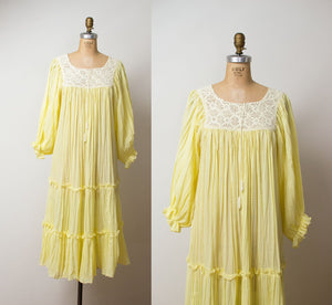 1970s Pale Yellow Crochet Yolk Dress