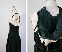 Load image into Gallery viewer, 1940s Green Velvet Dress / 40s Gown