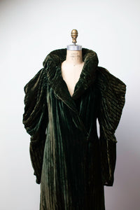 1930s Silk Velvet Coat / 30s Green Striped Leg Of Mutton Sleeve Opera Coat