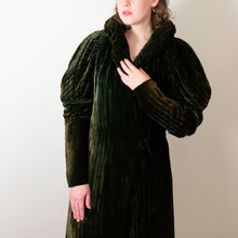 Load image into Gallery viewer, 1930s Silk Velvet Coat / 30s Green Striped Leg Of Mutton Sleeve Opera Coat