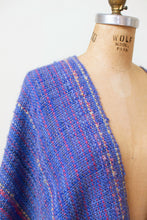 Load image into Gallery viewer, Vintage Handwoven Poncho / Periwinkle Metallic Magic Fringe Shawl