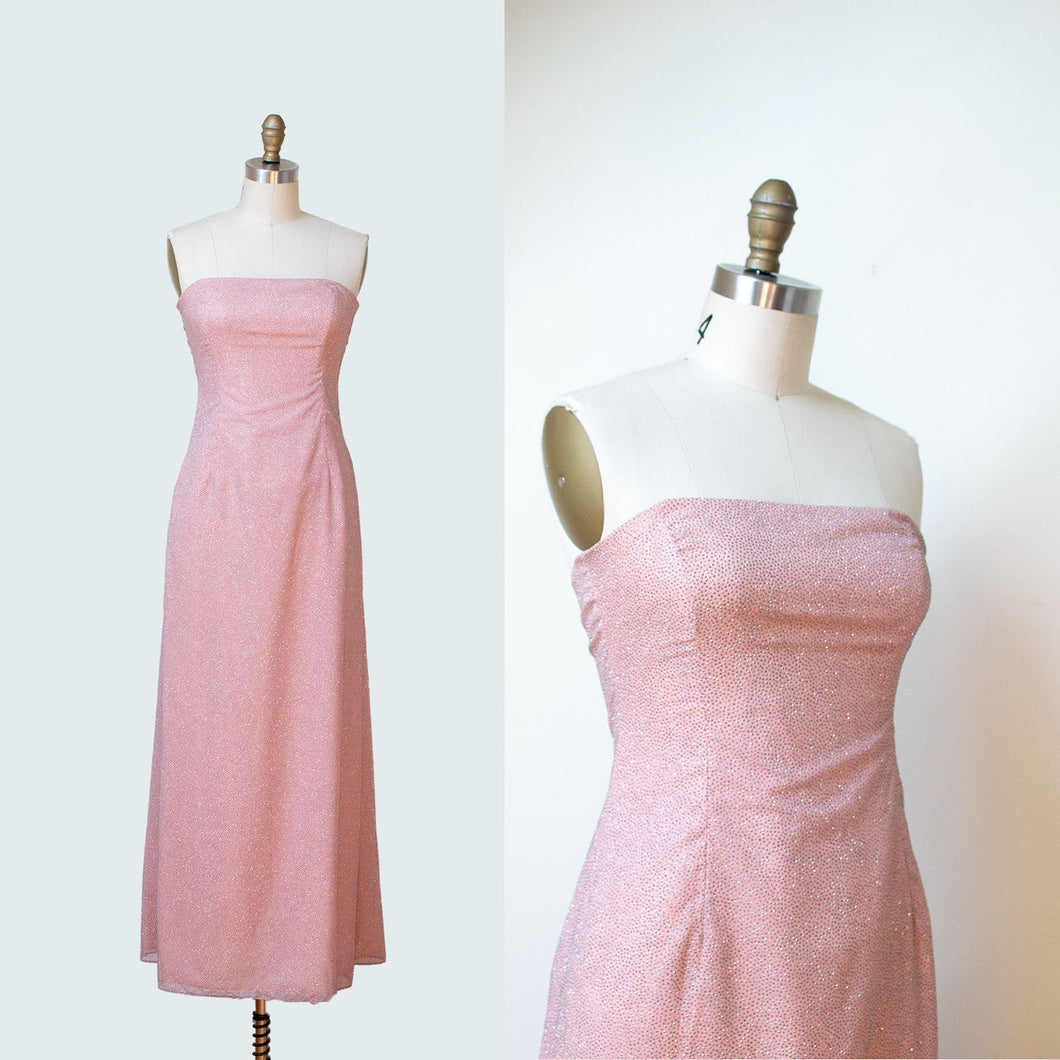 1990s Strapless Gown  / 90s Iridescent Glitter Sparkle Baby Pink Dress Laundry By Shelli Segal