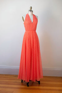 1970s Coral Polka Dot Chiffon Rhinestone Studded Halter Dress | Shannon Rodgers for Jerry Silverman