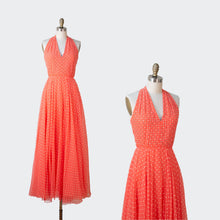 Load image into Gallery viewer, 1970s Coral Polka Dot Chiffon Rhinestone Studded Halter Dress | Shannon Rodgers for Jerry Silverman