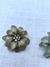 Load image into Gallery viewer, 1960s Plastic Glitter Flowers Clip On Earrings