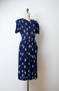 1940s Navy Blue Strawberry Print Dress