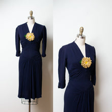 Load image into Gallery viewer, 1940s Navy Blue Rayon Draped Dress |  New York Creation