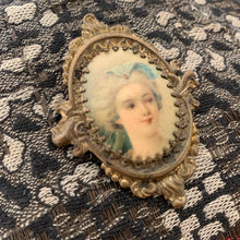 Load image into Gallery viewer, Antique Portrait Brooch / Brass Miniature Brooch