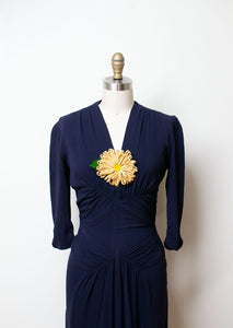 1940s Navy Blue Rayon Draped Dress |  New York Creation