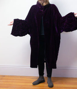 1920s Purple Velvet Cocoon Coat