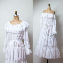Load image into Gallery viewer, 1970s White Eyelet & Lace Off The Shoulder Dress