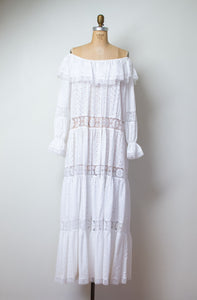 1970s White Eyelet & Lace Off The Shoulder Dress