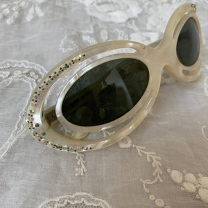 Vintage 1950s Mother of Pearl Sunglasses / 50s MOP Pearlized Plastic Rhinestone Studded Sunglasses