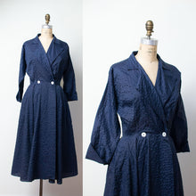 Load image into Gallery viewer, 1950s Navy Blue Nylon Plisse New Look Dress