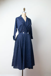 1950s Navy Blue Nylon Plisse New Look Dress