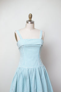 1980s Laura Ashley Dress / 80s 90s Striped Cotton Sundress
