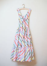 Load image into Gallery viewer, 1940s Rainbow Striped Cotton Dress / 40s McMullen Sundress