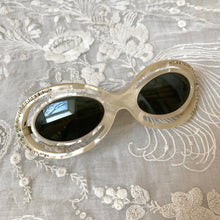 Load image into Gallery viewer, Vintage 1950s Mother of Pearl Sunglasses / 50s MOP Pearlized Plastic Rhinestone Studded Sunglasses