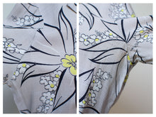 Load image into Gallery viewer, 1940s Gray Floral Print Dress