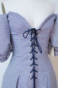 1990s Puff Sleeve Striped Corset Dress  | Yves Saint Laurent Rive Gauche