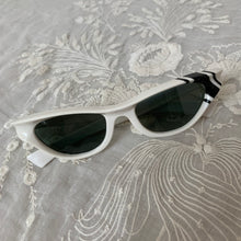 Load image into Gallery viewer, 1960s White Cat Eye Sunglasses / 50s 60s Black and White Mod Sunglasses