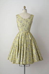 1950s Brocade Dress / 50s Floral Party Dress