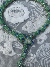 Load image into Gallery viewer, Bead Crochet Snake Necklace : Sparkly Seafoam