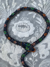 Load image into Gallery viewer, RESERVED Bead Crochet Snake Necklace | Antique Blue