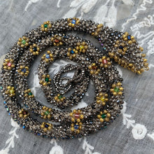 Load image into Gallery viewer, Bead Crochet Snake Necklace | Antique steel cut, Torse and glass beads