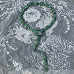 Bead Crochet Snake Necklace : Sparkly Seafoam