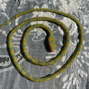 Reserved Custom Beaded Snake Chartreuse