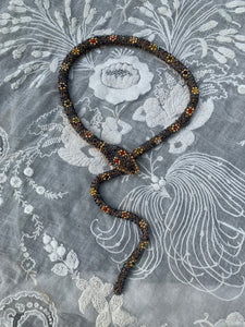 Bead Crochet Snake Necklace | Iridescent Antique Blue