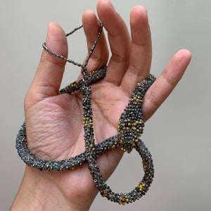 Bead Crochet Snake Necklace | Antique steel cut, Torse and glass beads