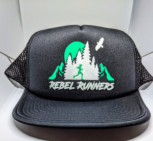 Soft Mesh Tech Running Hat - Black Emerald logo
