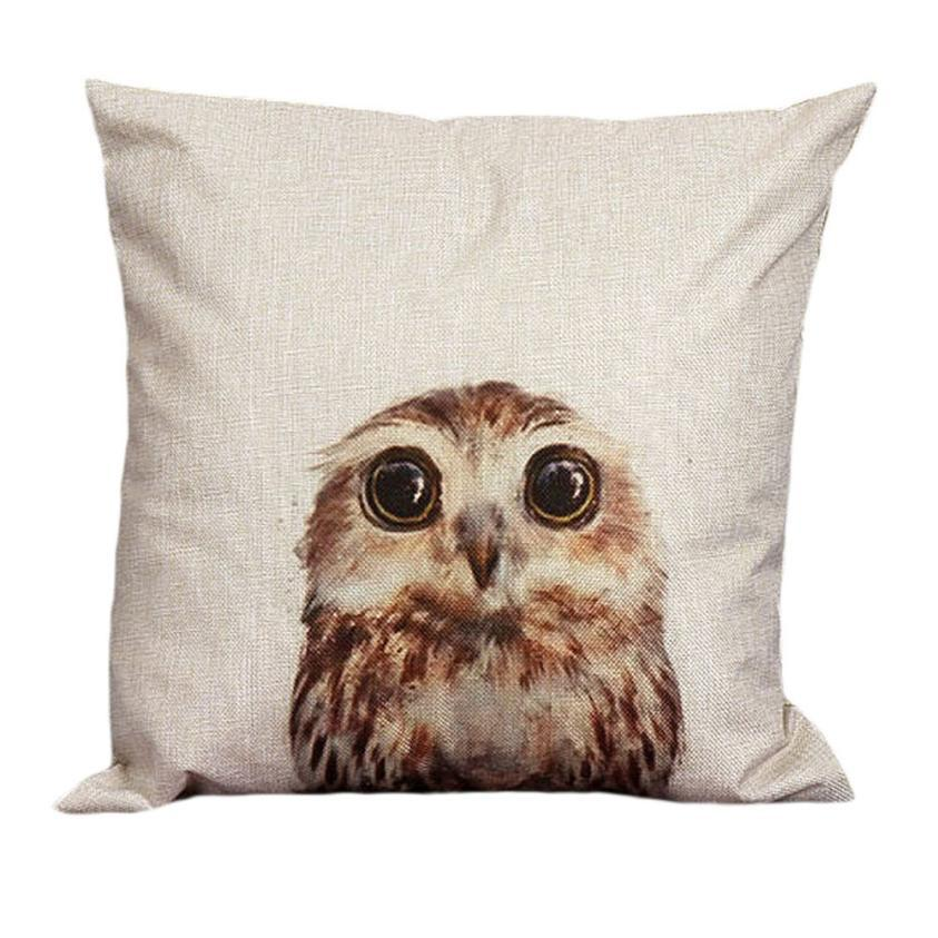 Super Deal 2016 Home Vintage Owl Cotton Linen Pillow Case Linen Leaning Cushion Throw Pillow Covers Pillowslip Case XT