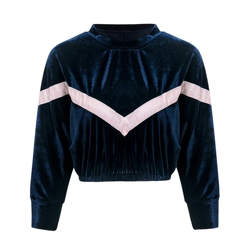 Simplee V shape splice velvet cropped top women sweatshirt Plus size o neck long sleeve casual pullovers Autumn winter warm tops