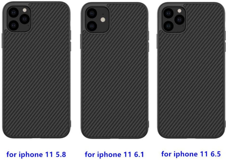 iPhone 11 Case Back Cover Ultra Thin Flexible Carbon Fiber TPU Black Cover Anti-Shock Anti-Slip Anti-Scratch Full Cover Phone Case