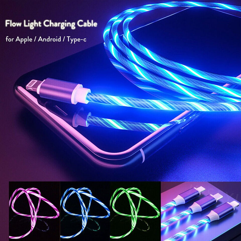Led light mobile phone charging cable