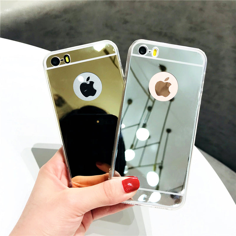 Silicone Phone Case for iPhone 8 Plus Mirror TPU+PC Shockproof Back Cover for iPhone 8 Retro Girl Makeup