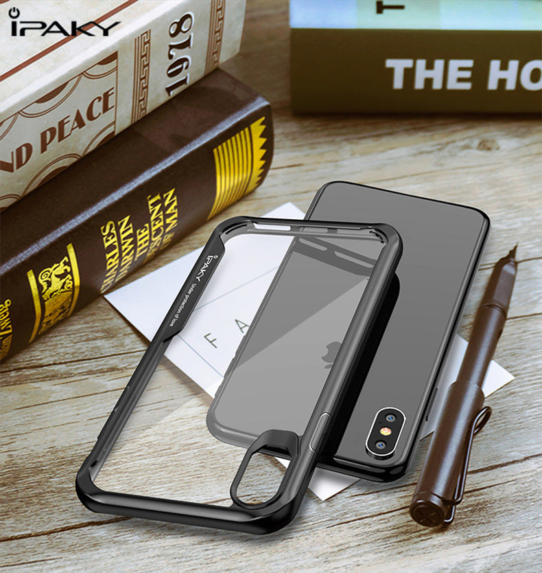 Glossy Hard Transparent PC Backcover Soft TPU Bumper Silicone Case Protector Back Cover Phone Funda for iPhone XS Max XR