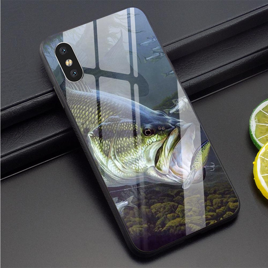 Fishing Gear Fish Phone Cover for iPhone 6, 6S, 6 Plus Case Xs, Max XR, X, 5, 5S, SE, 7, 8 Plus Tempered Glass