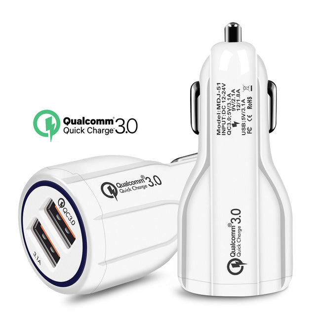 Quick Charge 3.0 Car Charger For Mobile Phone Dual Usb Car Charger Qualcomm Qc 3.0 QC 4.0 Fast Charging Adapter Usb Car Charger